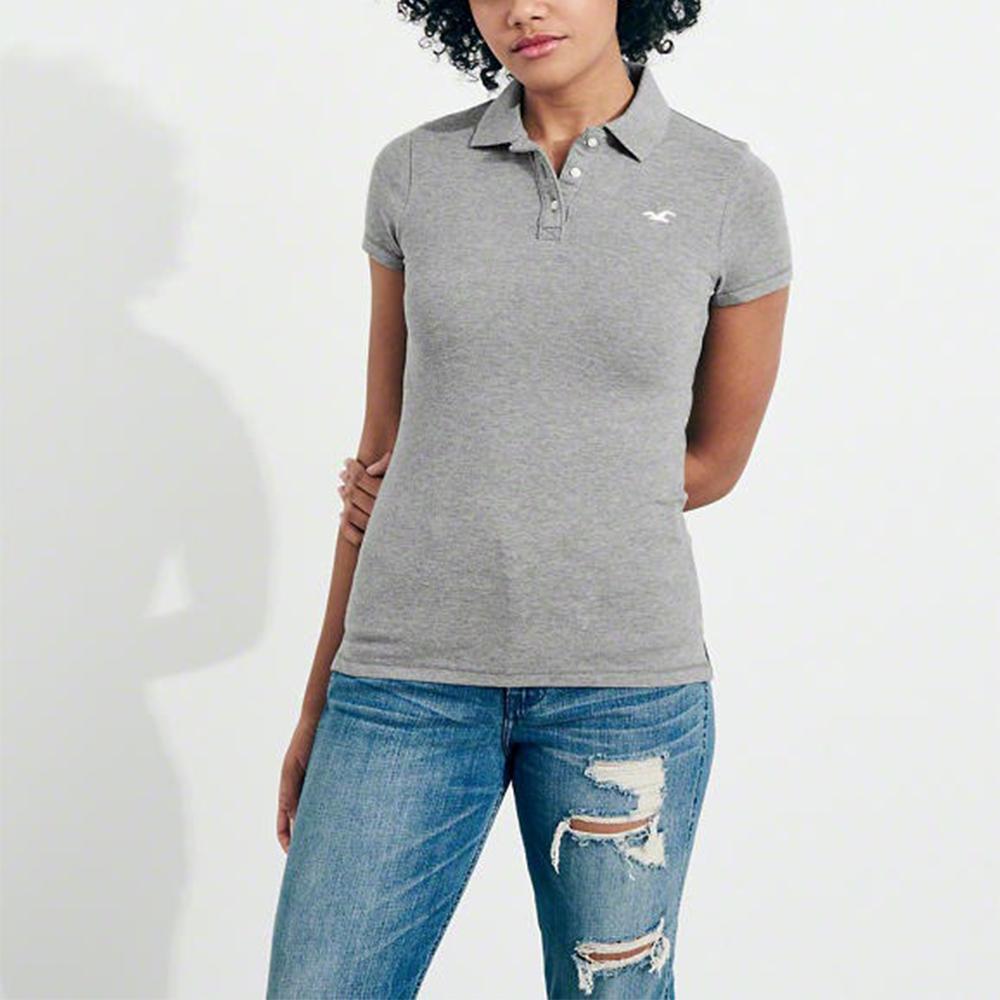 HCO Hollister 海鷗 經典海鷗刺繡標誌短袖Polo衫(女)-灰色