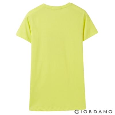 GIORDANO 女裝棉質圓領標語印花T恤-  27 極光黃