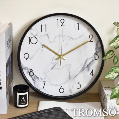 TROMSO黑邊大理石白靜音時鐘
