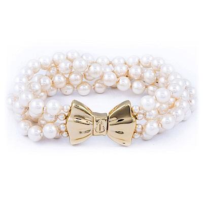 Kiel James Patrick 美國手工珍珠單圈多層手鍊 金色蝴蝶結