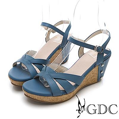 GDC-夏日交叉真皮楔型涼鞋-灰藍色