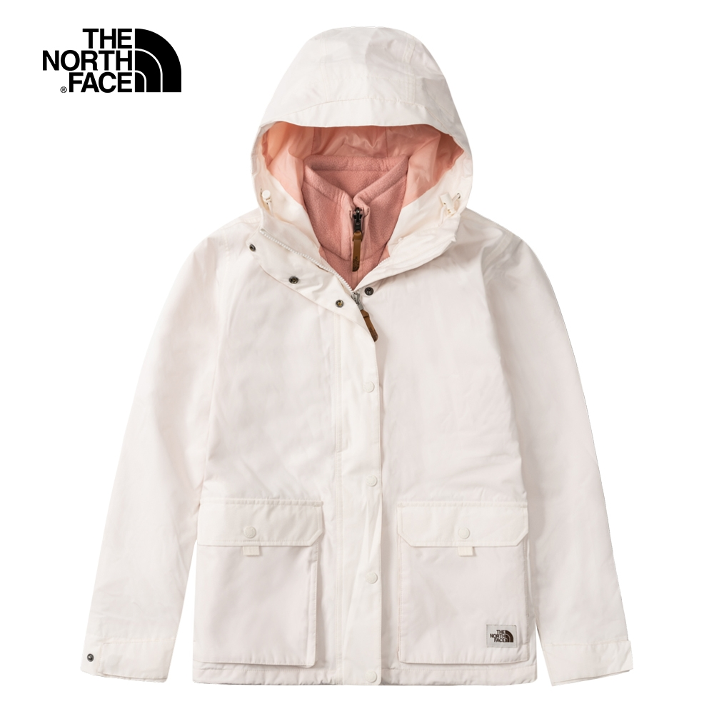 The North Face北面女款米白粉色防水透氣三合一外套|5AYJ2R1