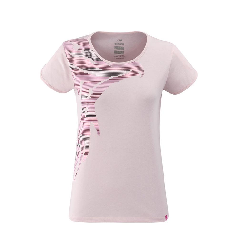 法國【EiDER】女排汗抗UV印花短袖圓領衫 / 9EIV4660-玫瑰紅