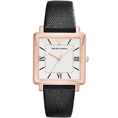 Emporio Armani羅馬時標復刻方形女腕錶 (AR11067)30x30mm