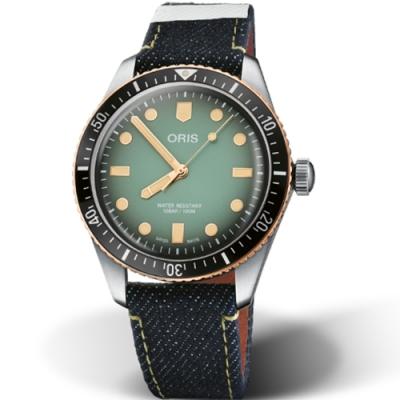 Oris Divers65 聯名日本Momotaro牛仔布時尚腕錶 0173377074337-Set/40mm