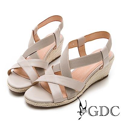 GDC-氣質淑女真皮交叉楔型涼鞋-米杏色