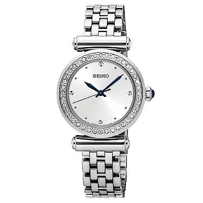 SEIKO 優雅美型施華洛世奇石英女錶(SRZ465P1)-白x27mm