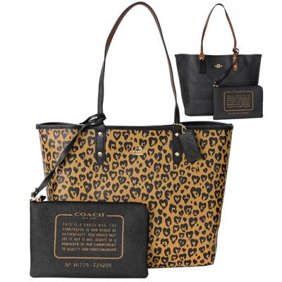 COACH WILD BEAST棕黑愛心豹紋雙面使用肩背購物托特包