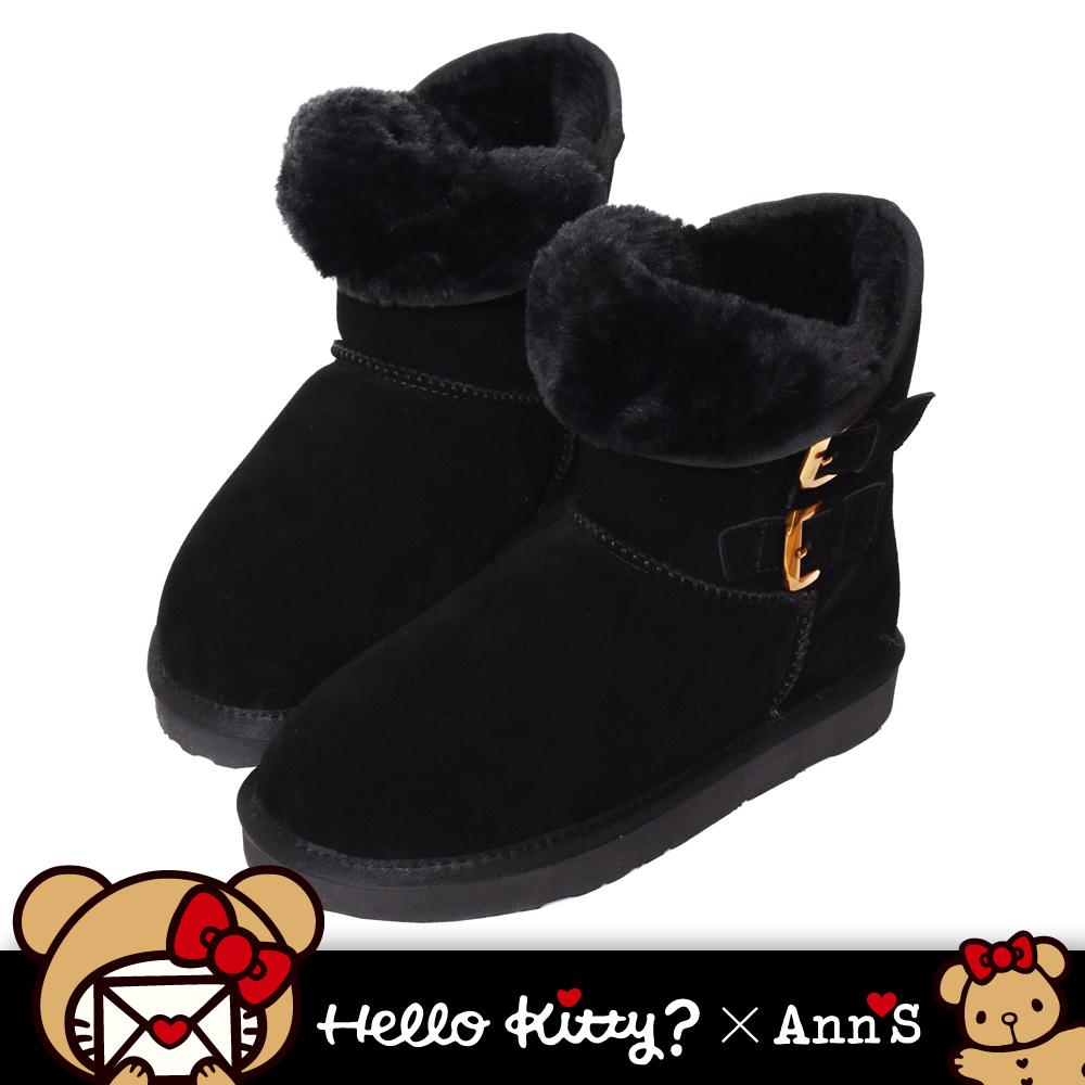 HELLO KITTY X Ann'S棕色熊熊側面雙扣2穿彩色刺繡真皮雪靴-黑