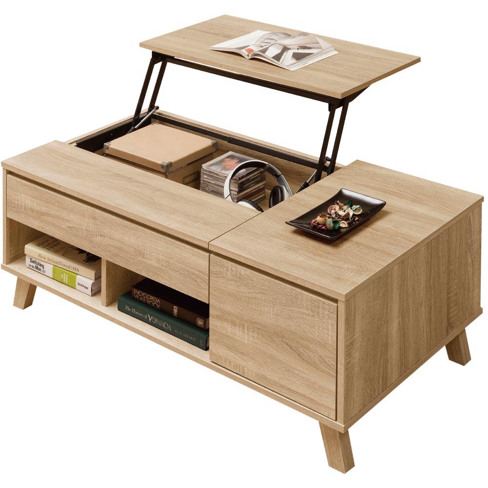 文創集 威爾比時尚4尺功能大茶几(桌面可升降)-120x60x67.5cm免組