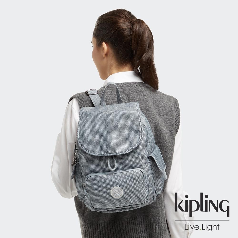Kipling 個性淺灰藍拉鍊掀蓋後背包-CITY PACK S