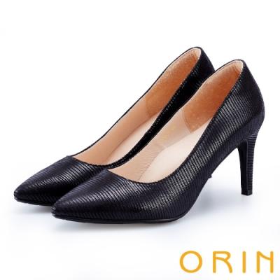 ORIN 時尚名媛 壓紋皮面尖頭高跟鞋-黑色