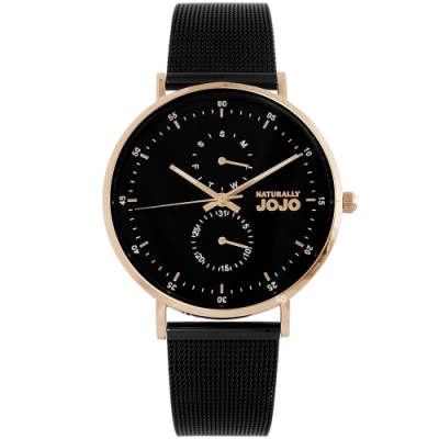 NATURALLY JOJO 簡約魅力米蘭帶手錶-玫瑰金X黑帶/38mm
