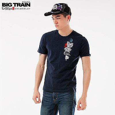 BigTrain鬼王鍾馗圓領長袖T-男-深藍