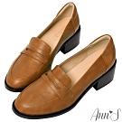 Ann'S學院提案-質感素面粗跟5cm紳士鞋(版型偏大)-棕