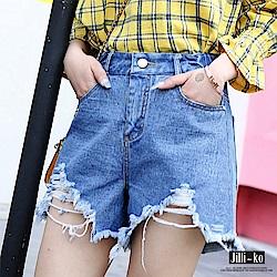 Jilli-ko 基本款修飾九分寬口褲-附綁帶-黑/灰