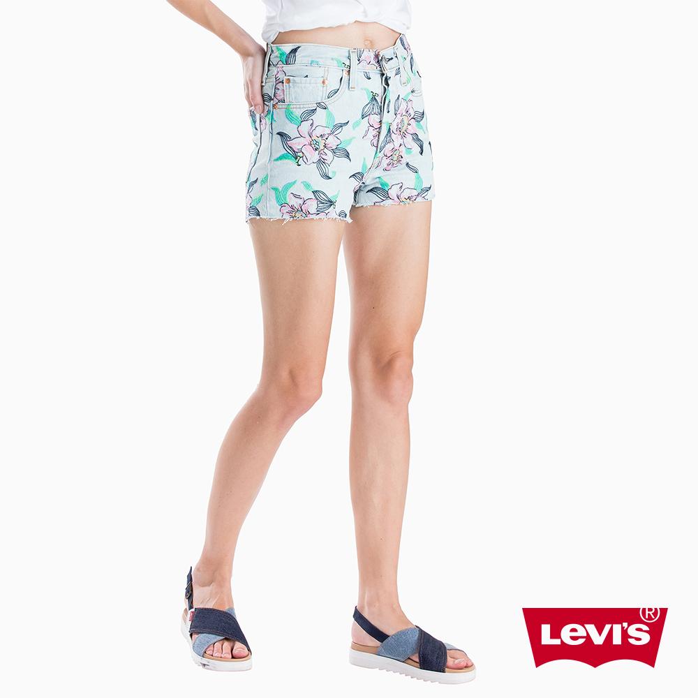 Levis 女款 501 高腰排釦牛仔短褲 夏日清新風 不收邊