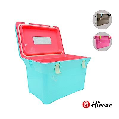 日本Hirone-繽紛假日-便攜式大容量戶外冰桶-15公升-藍/粉/棕(三色任選)