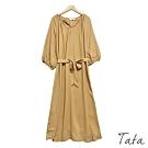 單扣V領素色雪紡洋裝(附綁帶) 共二色 TATA-F