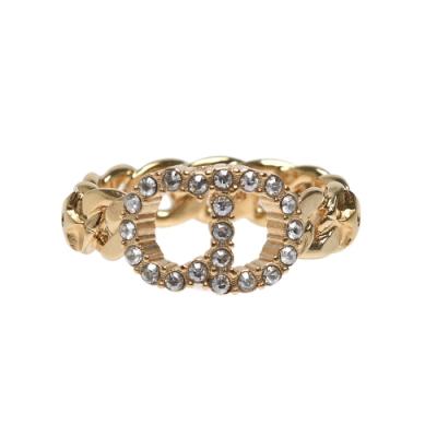 DIOR 經典CD LOGO水鑽鑲飾鎖鍊造型戒指(金)