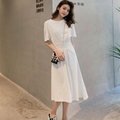 IMStyle 時尚純棉修身收腰連身裙 (3色-白色、灰色、黑色)