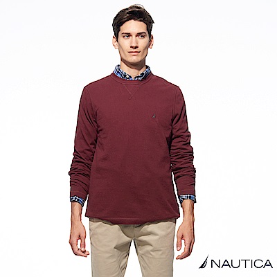 Nautica經典款素色長袖針織衫-暗紅
