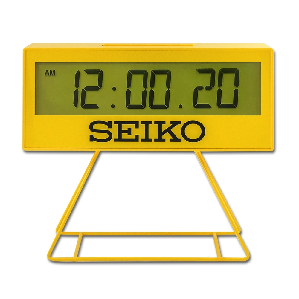 SEIKO 精工 / QHL083Y / 城市路跑 日期 計時 貪睡鬧鈴 可拆座架 長方形鬧鐘 電子鐘-黃色