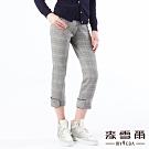 【麥雪爾】羊毛英倫風格紋八分西裝褲