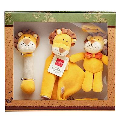 美國miYim有機棉 安撫玩具禮盒(經典3件組)-里歐獅子