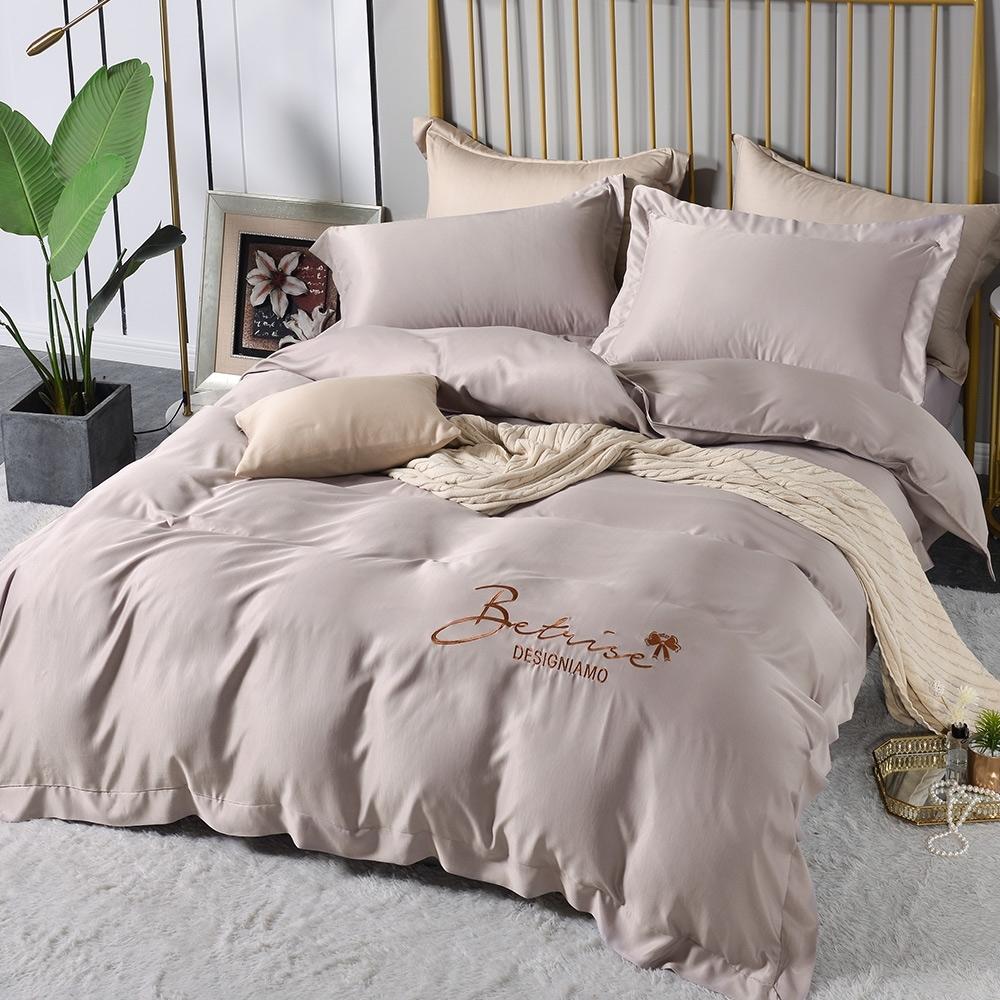 (超值加購枕套) Betrise極簡純色 抗菌天絲素色刺繡系列 超值薄被套+薄枕套床包組 (03.擦肩而過-雙人床包枕套三件組)
