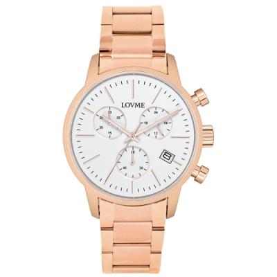 LOVME 城市獵人不鏽鋼三眼時尚手錶-IP玫x白/43mm
