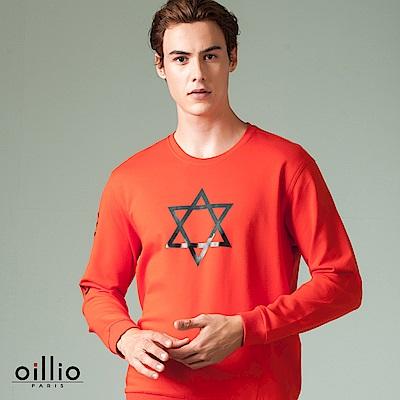 歐洲貴族 oillio 長袖T恤 星形印花 品牌文字 紅色