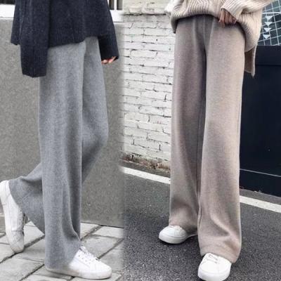 初色  垂感針織高腰直筒褲-共3色-(F可選)