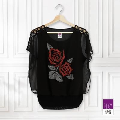 ILEY伊蕾 閃亮玫瑰燙鑽連袖上衣(黑)