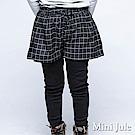 Mini Jule 長褲 假兩件式格子短褲綁帶設計內搭長褲(黑)