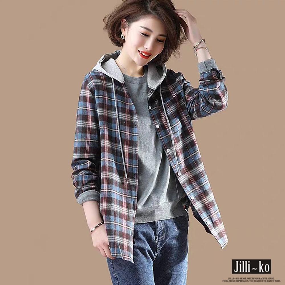JILLI-KO 法蘭格紋連帽襯衫外套- 藍/紅
