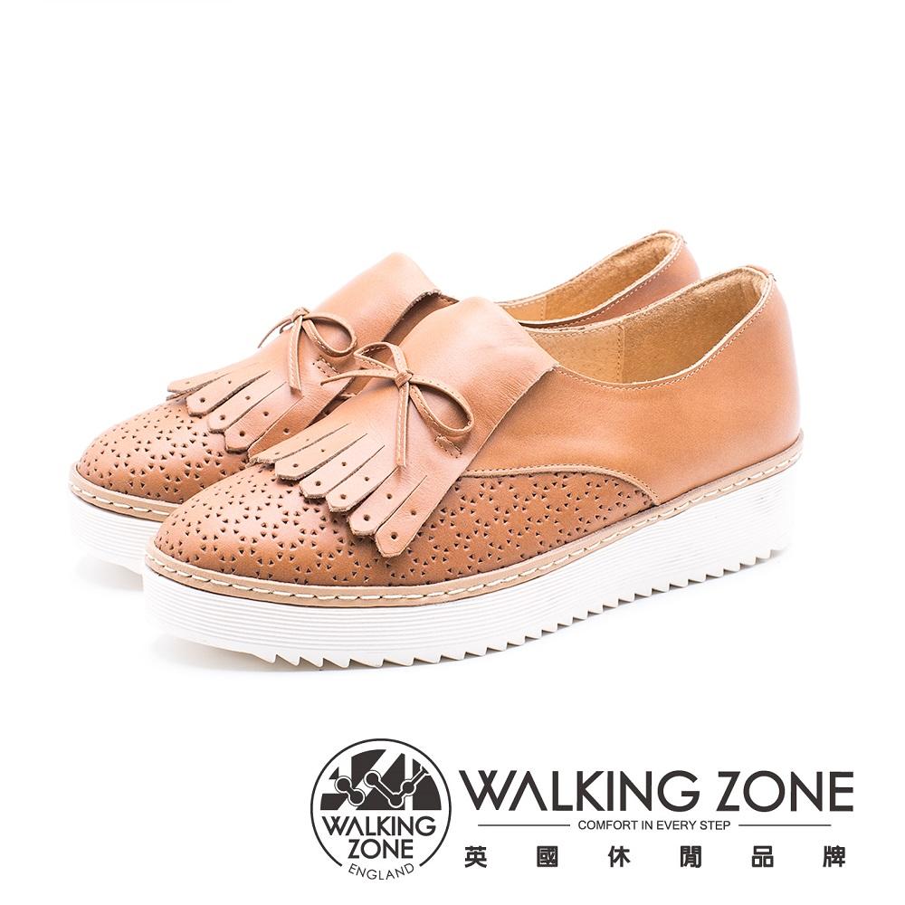 WALKING ZONE 流蘇拼接輕質鬆糕鞋 女鞋 - 棕 (另有白)