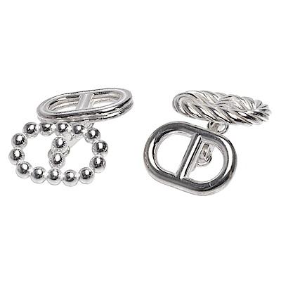 HERMES 經典Parade cufflinks簍空不對襯橢圓純銀袖釦(銀)
