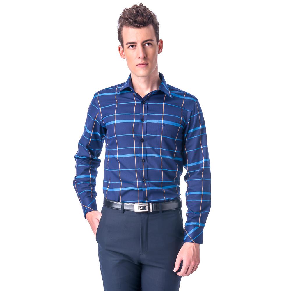 金‧安德森 深藍底藍黃大線格保暖窄版長袖襯衫
