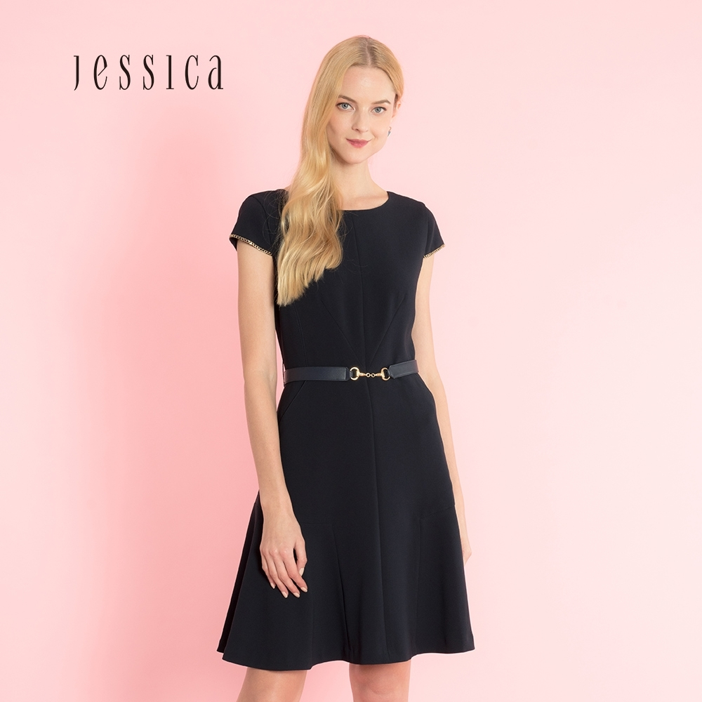 JESSICA- 海軍藍修身寬擺皮帶裝飾簡約洋裝