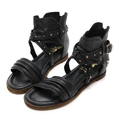 PLAYBOY羅馬再現 鉚釘交叉羅馬涼鞋-黑