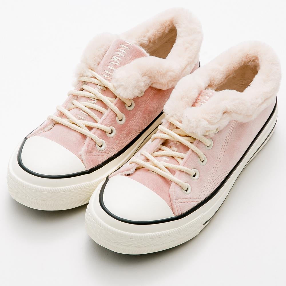 River&Moon韓版暖暖內鋪毛超短筒靴休閒鞋-粉