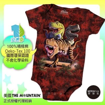 摩達客-預購-美國進口The Mountain 雷克斯龍群 精梳純棉嬰幼兒短袖包屁衣
