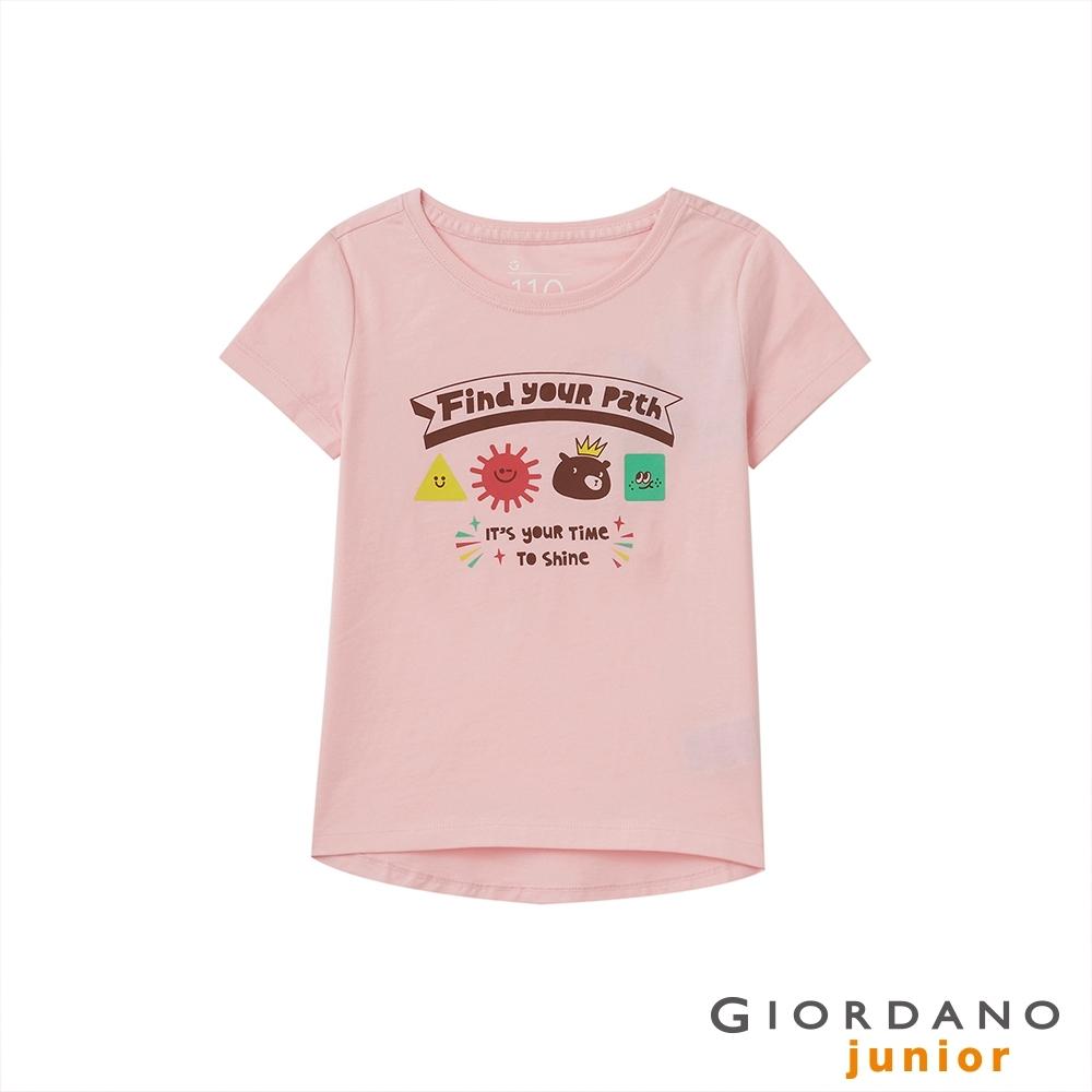 GIORDANO 童裝SHINE圓襬印花T恤 - 52 玫影粉紅