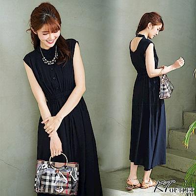 KT 清新風露背洋裝-黑色