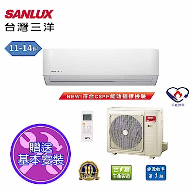 台灣三洋SANLUX 11-14坪時尚變頻一對一單冷SAE-V74F/SAC-V74F
