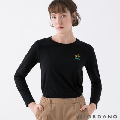 GIORDANO  女裝小清新刺繡長袖T恤 - 81 標誌黑