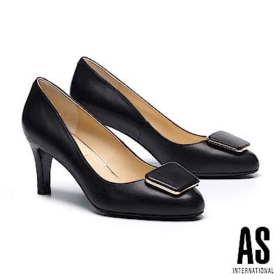高跟鞋 AS 都會典雅金屬方釦羊皮尖頭高跟鞋-黑