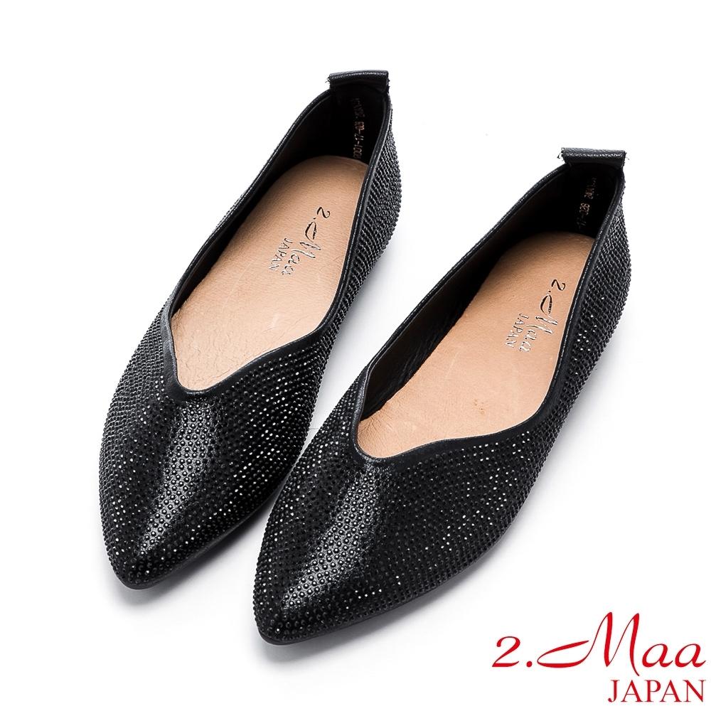 2.Maa 顯瘦魅力水鑽平底尖頭鞋 - 黑
