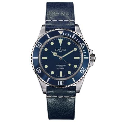 DAVOSA 161.525.455 TERNOS SIXTIES 60 年代復刻專業潛水自動錶/湛藍/皮帶/40mm